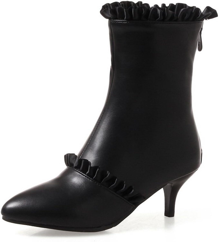 BalaMasa Womens Bridal Ruffles Lace Pointed-Toe Urethane Boots ABL10548