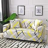 Funda Sofa 4 Plazas Chaise Longue Amarillo Fundas para Sofa con Diseño Universal,Cubre Sofa Ajustables,Fundas Sofa Elasticas,Funda de Sofa Chaise Longue