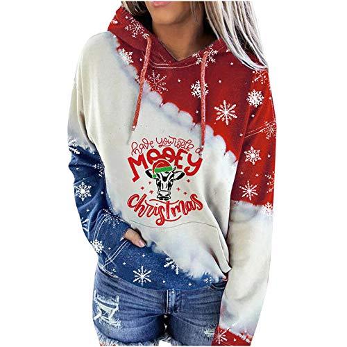 Higlles Pullover Damen Hoodie Damen Oversize Damen Weihnachten Weinglas Schneemann...