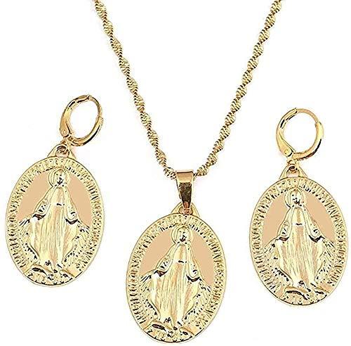 LBBYLFFF Collar Conjunto de Joyas de la Virgen María Mujeres Niñas Color Dorado Joyería de Nuestra Señora Joyería de Moda Longitud del Collar Aprox.50Cm
