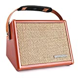 ammoon Acoustic Guitar Amplifier 15W Portable Amp BT Speaker with Microphone Input Supports