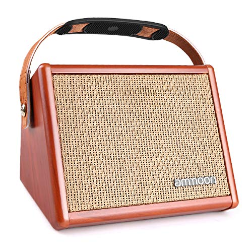 ammoon Acoustic Guitar Amplifier 15 Watt Portable Amp BT Speaker with Microphone Input Supports Volume Bass Treble Control Reverb Effect Built-in Rechargeable Battery