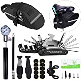 Beacon Pet Bike Tire Repair Kit with Mini Pump and Saddle Bag,16 in 1 Screwdriver Wrench Tool Kit,Tyre Levers&Tire Patch,Portable Cycling Bicycle Multitool for Road and Mountain Bikes