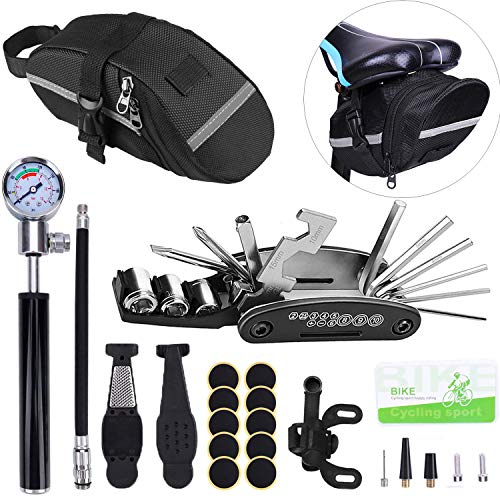 Beacon Pet Bike Tire Repair Kitwith Mini Pump and Saddle Bag,16 in 1 Screwdriver Wrench Tool Kit,Tyre Levers&Tire Patch,Portable Cycling Bicycle Multitool for Road and Mountain Bikes