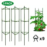 Derlights Tomato Cages Deformable Plant Supports, 3Pack Plant Cages Tomato Stakes Garden Cages, Multi-Functional Tomato Trellis for Climbing Vegetables with 9Pcs Clips