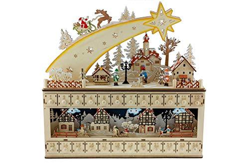 Clever Creations - Adventskalender mit Sternschnuppe & verschneiter Dorf-Szene - hochwertige Weihnachtsdeko - bemalte Figuren - 100% Holz - niedliches Design für die Feiertage - 43,2 x 10,2 x 43,8 cm
