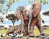 Los principiantes adultos y niños de pintura digital de bricolaje pueden pintar numerando. Apto para oficina salón cocina y dormitorio Elefantes jirafas árboles 40 x 50 cm (sin borde)