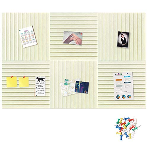 """HyFanStr Large Felt Bulletin Board 11.8"""" x 11.8"""", Square Wall Tile Board with 30 Push Pins, Stripe Decorative Memo Notice Display Pin Board for Office Home, Pack of 6"""