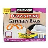 Kirkland Signature Drawstring Kitchen Trash Bags - 13 Gallon, 200 Count