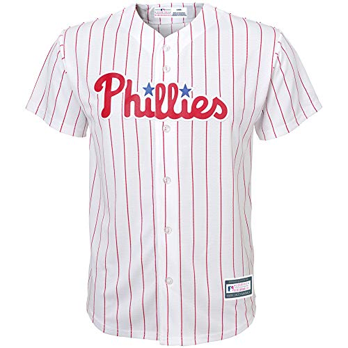 Outerstuff MLB Youth 8-20 Blank Cool Base Home Color Team Jersey (Medium 10/12, Philadelphia Phillies Home White)