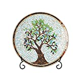 15' Round Mosaic Glass Decorative Charger Plate with Stand Tree Pattern