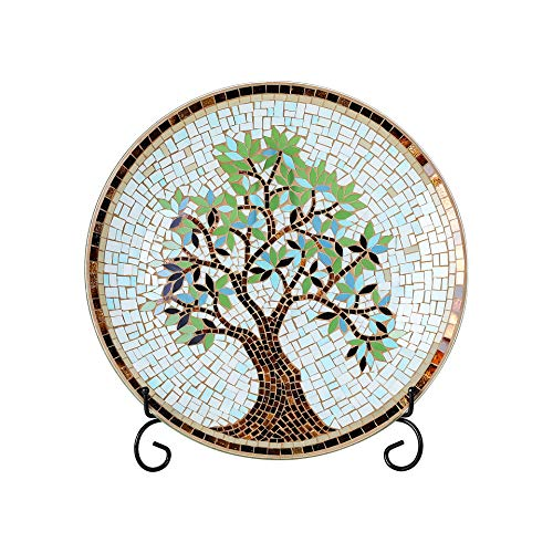 "Whole Housewares 15"" Round Mosaic Glass Decorative Charger Plate with Stand Tree Pattern"