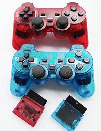 Bowink Wireless Gaming Controller for Ps2 Double Shock (Clear Red and Blue)