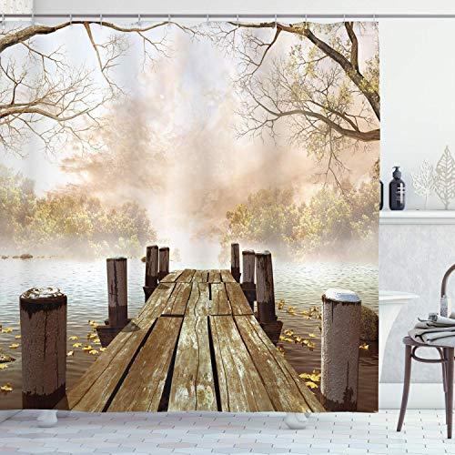 Alvaradod Herbst-Duschvorhang,Alter hölzerner Steg auf einem See mit gefallenen Blättern & nebligem Wald in der Ferne,Stoff-Stoff-Badezimmer-Dekor-Set mit,Braunbeige mit 12 Plastikhaken 180x180cm