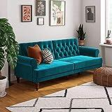 Novogratz 2342979N Upholstered Cassidy, Convertible Couch, Green Velvet Futon