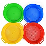 Heavy Duty Beach Sand Sifter Sieves Toys, Beach Toy Sets Kit Gear Gardening Digging Finding Treasure Shells Stones Discovery Toy Durable ABS Gift Set Bundle For Kids Boys Girls- 4 Pack (8.75'x9.75)
