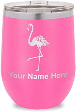 Wine Glass Tumbler, Flamingo, Personalized Engraving Included (Pink)