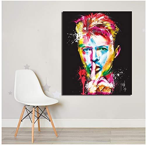 David Bowie Farbige Malerei Gemälde Auf Leinwand Moderne Wandbilder Für Wohnzimmer Wohnkultur Malerei-50x70 cm Kein Rahmen