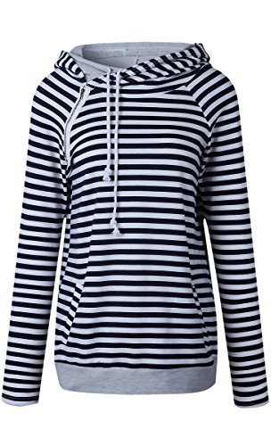 ECOWISH Womens Striped Zipper Pullover Hoodies Long Sleeve Pocket Blouse Casual Sweatshirts