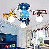 WXUGZ Candelabro para habitación de niños Avión Candelabro LED Moderno Iluminación con Globo terráqueo Avión de Dibujos Animados creativos Luminaria para habitación de niños Dormitorio