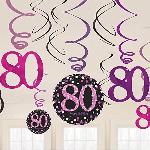 Carpeta: 12-teiliges Swirl-Deckendeko * Zahl 80 * in Pink-Schwarz-Silber | Glitzer Hänge-Deko zum 80. Geburtstag oder Jubiläum | Sparkling Dekoration Oma Senioren