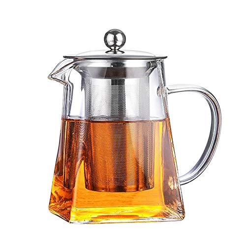 WUYANJUN 900 ml quadratische Glasteekanne mit Eintauchvorrichtung für Mikrowellenfilter für loseblättrige Teefilter, die direkt in einem Mikrowellenofen für den Heimgebrauch erhitzt Werden können.