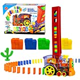 80 Pcs Domino Train Blocks Rally Electric Toy Set, Train Model with Lights and Sounds Construction and Stacking Toys, Set Suitable for Boys and Girls Aged 3 and Over, Creative Gifts for Kids