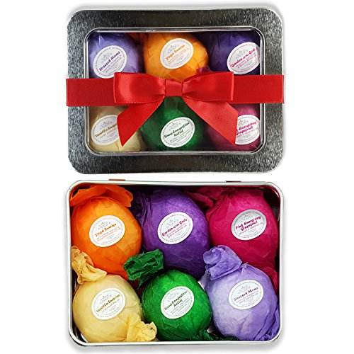 Bath Bombs Gift Set – 6 All Natural Assorted Essential Oil Bath Bombs. Infused with Shea Butter and Cocoa Butter. Enjoy a Luxuriously Moisturizing Fizzy Lush Bath. Perfect Holiday Gift or Beauty Gift for Her! 100% Satisfaction Guaranteed.