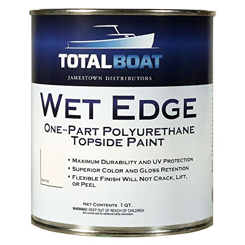 TotalBoat Wet Edge Marine Topside Paint for Boats, Fiberglass, and Wood (White, Quart)