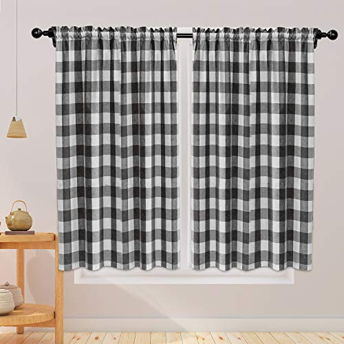 NATUS WEAVER Buffalo Check Curtains 45 inches Long Cotton Basement Black and White Gingham Plaid Kitchen Window Curtain Panels Living Room Checker Drapes Bedroom Rod Pocket Window Treatment 2 Panels