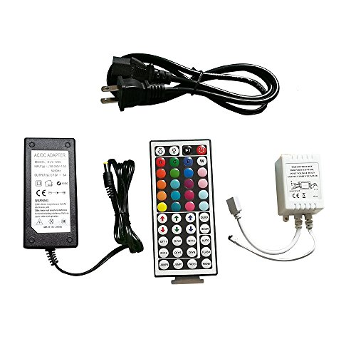 Lighten Glimmer 12V Power Supply, 44key Wireless IR Remote Control + Control Box + 12V 5A LED Transformer for SMD 3528 5050 RGB Led Strip Lights