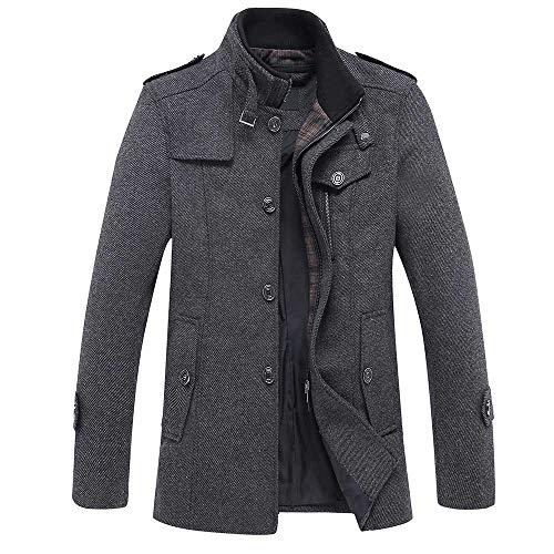 YOUTHUP Herren Wintermantel mit Stehkragen und Hochwertige Materialqualität Lange Jacke M Grau 1