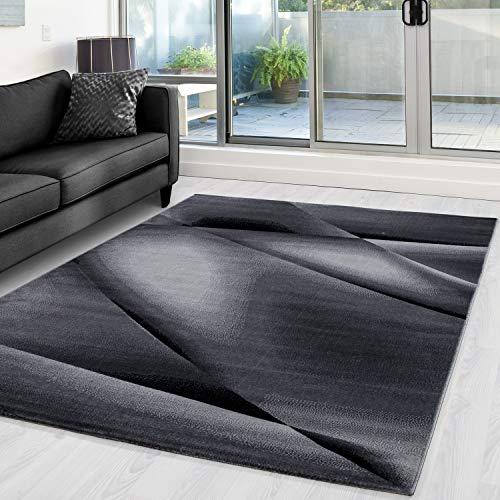 Ayyildiz Teppich-Teppich modern Designer  Abstrakt Linien Optik ,  Polypropylen, Schwarz, 80 X 150