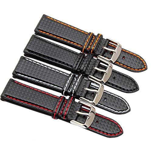 18mm 20mm 22mm 24mm Correa de Reloj para Hombre con Banda de Fibra de Carbono y Costuras Rojas + Forro de Cuero Broche de Acero Inoxidable Correa de Reloj Negro X Línea Blanca, 23 mm