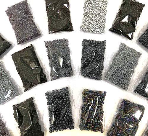 Rocailles Schwarz Set Mix 2mm 3mm 4mm 6mm Perlen Glas 18 Pack 360g Kugel und Stifte AM18
