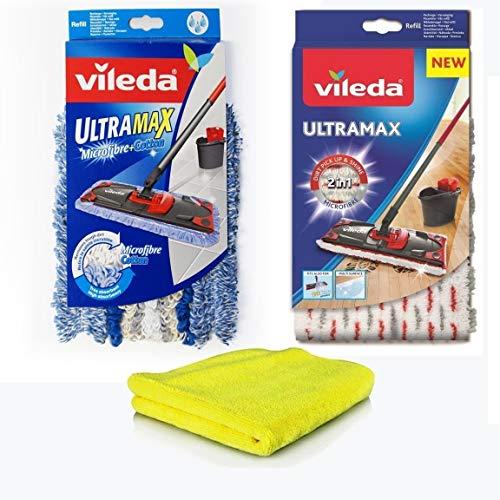 Vileda Ersatzbezüge UltraMax Microfibre & Siluk Microtuch I 2X Wischbezüge Vileda Microfaser + Baumwolle für Fliesen PVC Parkett Laminat I Flat Mop für Vileda UltraMat 3er-Set (Modell 1)