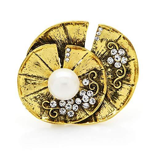 Vintage feuille de Lotus perle fleur femmes broche broches 2021 bijoux cadeau insigne en métal
