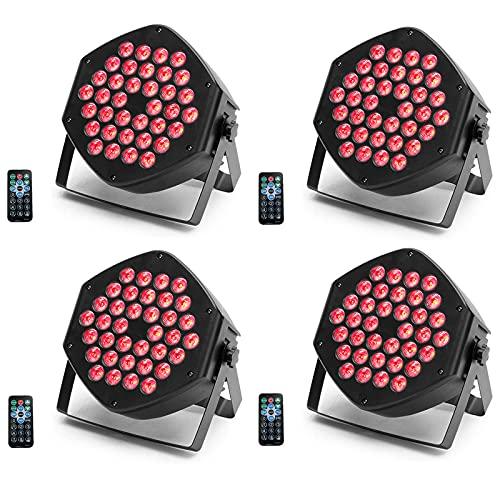 UKing 4 Pcs LED Par Light, RGB 36 LED Par Scheinwerfer,Farbmagieeffekt mit Fernbedienung 7CH DMX Sound Control für DJ Club Party Show