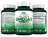 Vegan Omega 3 DHA Supplement - Our Algal Oil is a 100% Plant Based Vegan Omega Supplement in Triglyceride Form, Supports Healthy Heart, Joint, Brain, Eyes - 60 Softgels - 400mg