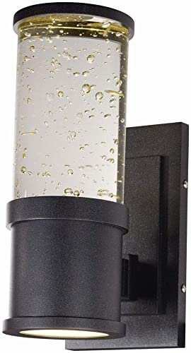 Maxim Lighting 53685CLGBK Pillar - 11 Inch 20W 2 LED Outdoor Wall Mount, Galaxy Black Finish with Clear Bubble Glass