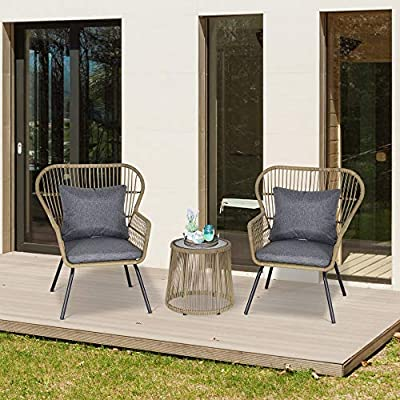 Outsunny Patio PE Rattan 2 Chairs Coffee Table Bistro Set