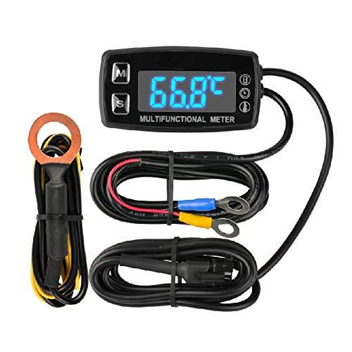Runleader Digital LED Motorstundenzähler, Drehzahl- und Temperaturanzeige, Wartungserinnerung, externer Betrieb für Rasenmähergenerator Dirtbike Paramotor Außenbordmotor Marinekompressor