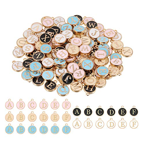 ruggito 130 Pieces 26 Alphabet Letters Charms Pendant, Mixed Letter Beads Round Charms Pendants for Necklace Bracelet Jewelry Making DIY Craft