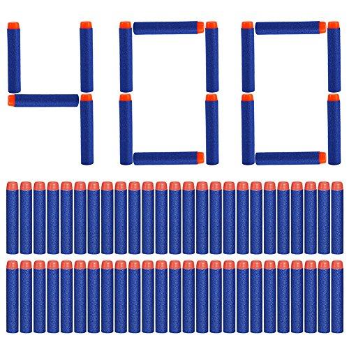 Yosoo 400 pcs en mousse souple Fléchettes Dart Bullet pour Nerf N-Strike Elite Series Blasters 7.2 x 1.3 cm – Bleu
