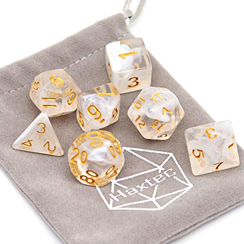 Haxtec 7PCS DND Dice Set Polyhedral D&D Dice of D20 D12 D10 D8 D6 D4 for Dungeons and Dragons TTRPG Games (White Cloud-Gold Numbers)
