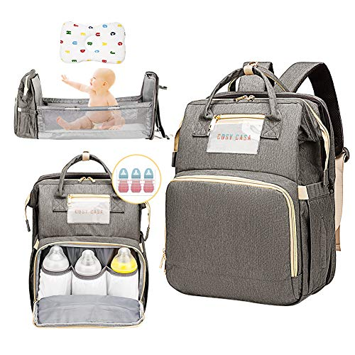 Cosy Casa Baby Diaper Bag Backpack with Travel Bassinet Changing Station Mat Portable Crib for Baby Girl Boy Infant Mom, Mommy Bag Tote with Toddler Bed Sleeper Diaper-Bag-Backpack(Grey)