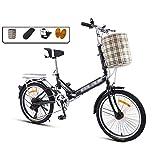JHNEA 20 Pulgadas Plegable Bicicleta, 7 velocidades Marco de Acero al Carbono Bicicleta Plegable Street con Sillin Confort Cesta y Estante,Black-B