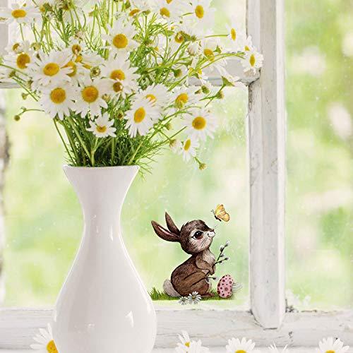 ilka parey wandtattoo-welt Mini-Fensterbilder Fensterbild Ostern Fuchs REH Hase Pusteblume wiederverwendbar Fensterdeko bf30mini - ausgewählte Farbe: *bunt* ausgewählte Größe: *1. Hase mit Ostereier*