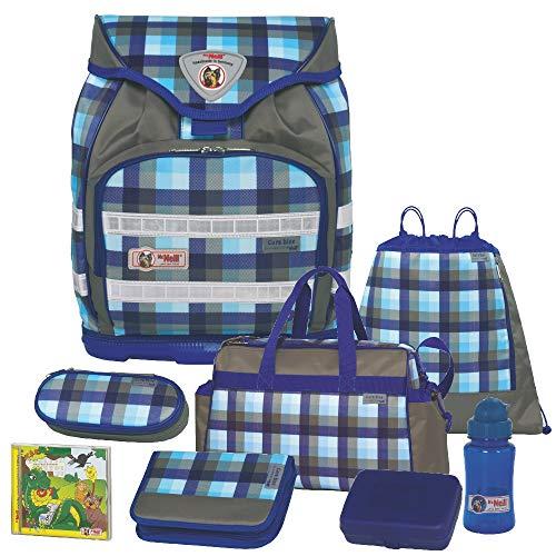 Caro Blue - McNeill Fashion Line Ergo Light Trekking Schulranzen-Set 8tlg. mit Sporttasche, BROTDOSE und TRINKFLASCHE mit austauschbarem FLIP-Motiv auf dem Ranzendeckel