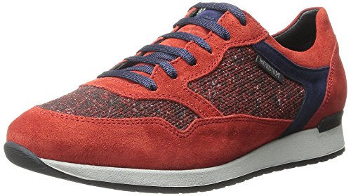 Mephisto Women's Ninia Walking Shoe, Burnt Orange Suede/Jersey/Indigo Velcalf Premium, 9.5 M US